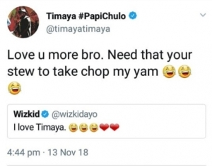 Wizkid & Timaya Send Love To One Another On Twitter